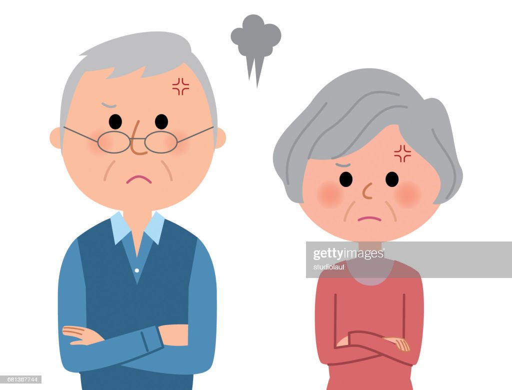 Elderly couple,Get angry