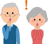 Elderly couple,Surprised