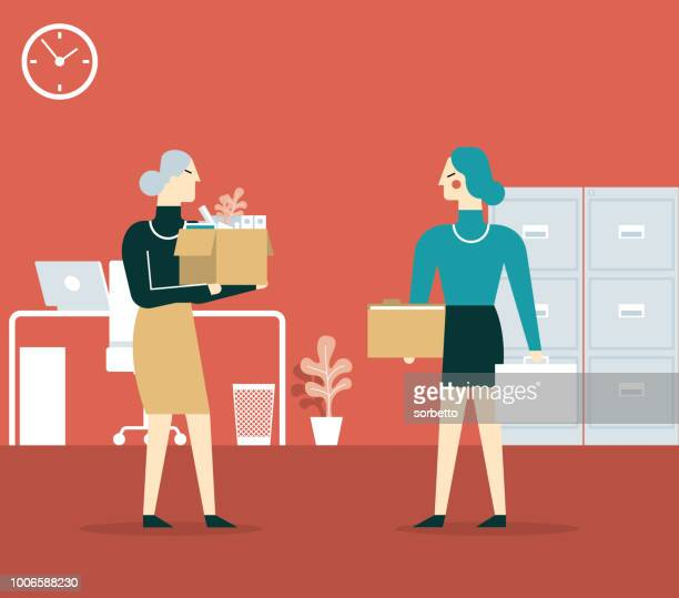 elderly employee leaving office - businesswoman - downsizing unemployment stock illustrations, clip art, cartoons, & icons