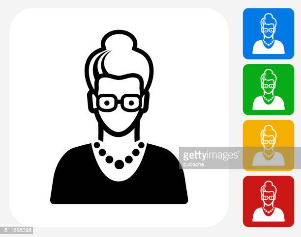 Elderly Female Face Icon Flat Graphic Design