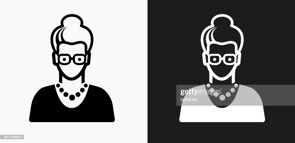 Elderly Female Face Icon on Black and White Vector Backgrounds : stock illustration