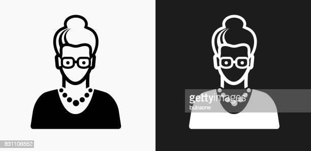 Elderly Female Face Icon on Black and White Vector Backgrounds