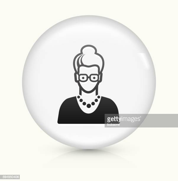 Elderly Female Face icon on white round vector button