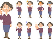 Elderly female facial expression and pose set 9 types _ whole body