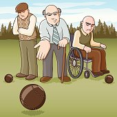 Elderly Gentleman Lawn Bowling