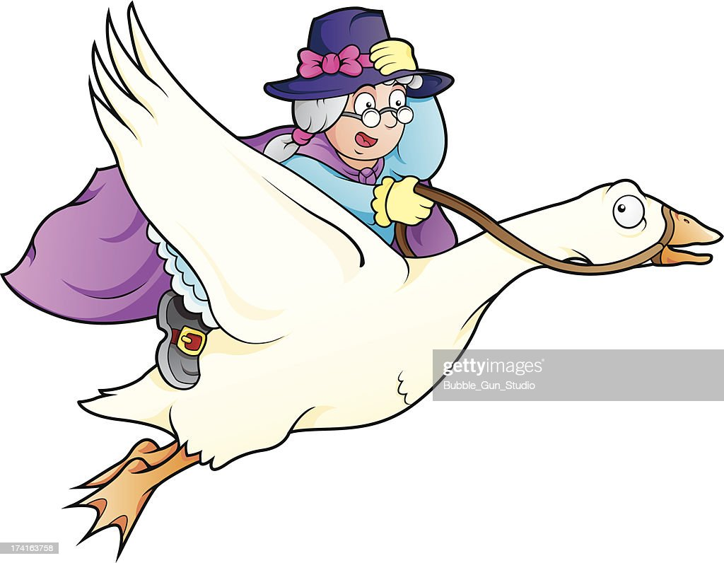 Elderly lady with magical powers flying on top of a goose