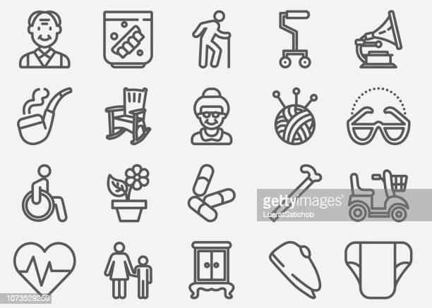 elderly line icons - human body part stock illustrations
