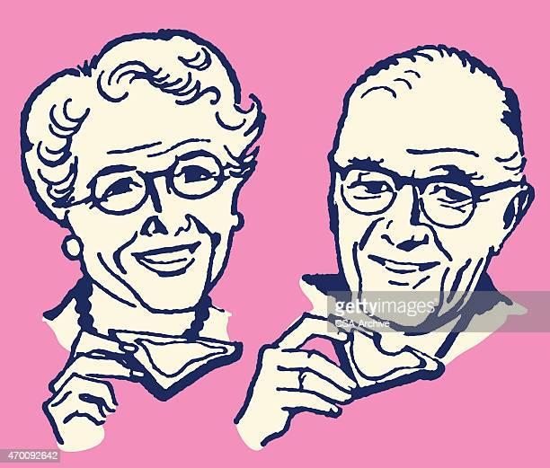 Älterer Mann und Frau Essen Toast