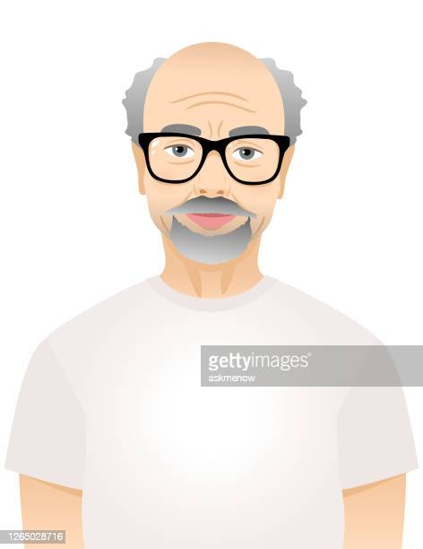 elderly man and woman in white t-shirts - senior citizen clipart stock illustrations