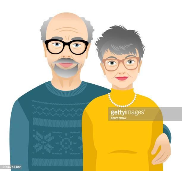 高齢の男女 - 年配のカップル点のイラスト素材/クリップアート素材/マンガ素材/アイコン素材