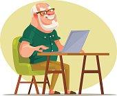 Elderly man character chatting on network
