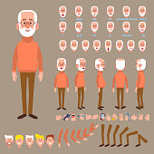 Elderly man creation set with various views, face emotions, poses. Grandfather.