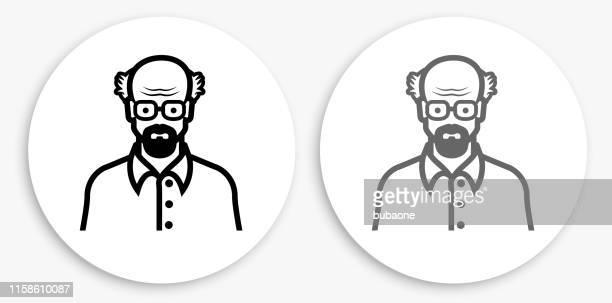 Elderly Man Face Black and White Round Icon