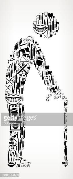 Elderly Man Holding Cane Dentist and Dental Vector Icon Pattern