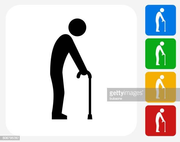elderly man holding cane icon flat graphic design - walking cane stock illustrations