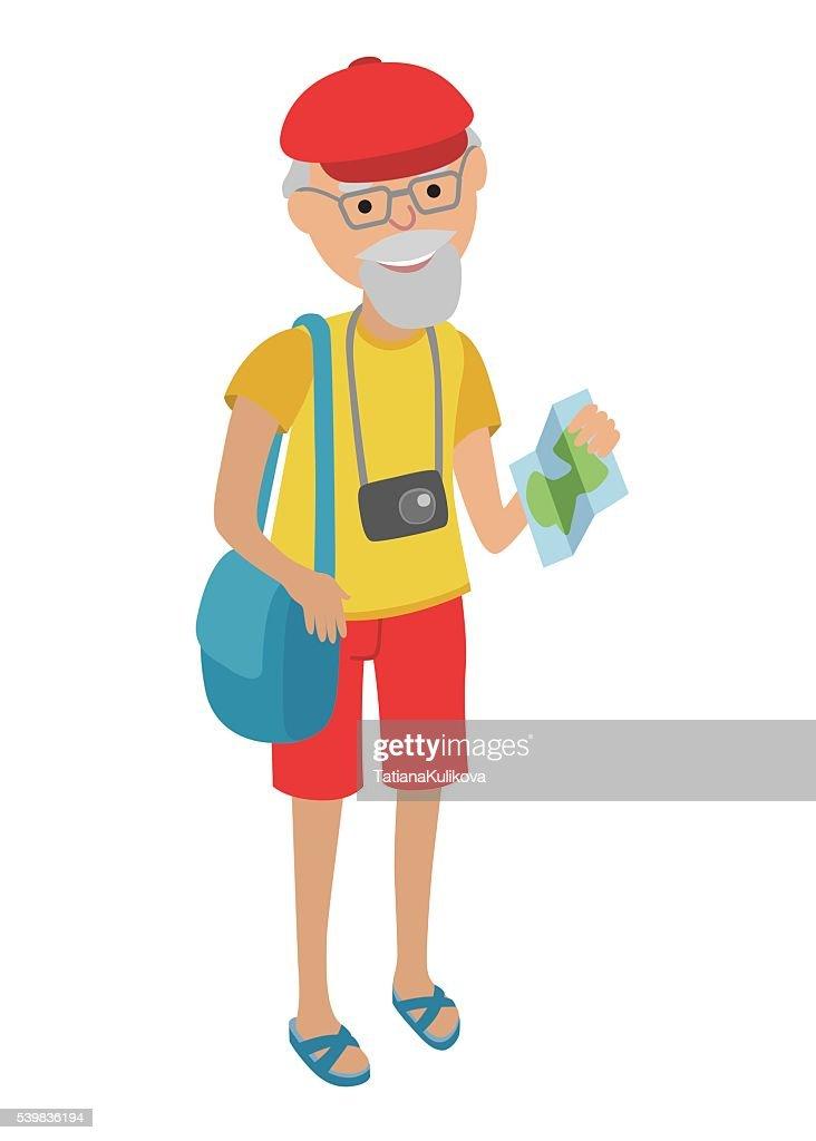 Elderly man tourist in flat style.