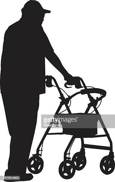 Silhueta de homem idoso usando Walker
