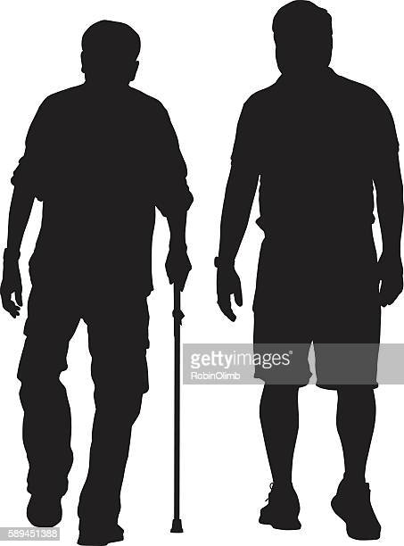 ilustraciones, imágenes clip art, dibujos animados e iconos de stock de elderly man walking with caregiver - pantalón corto