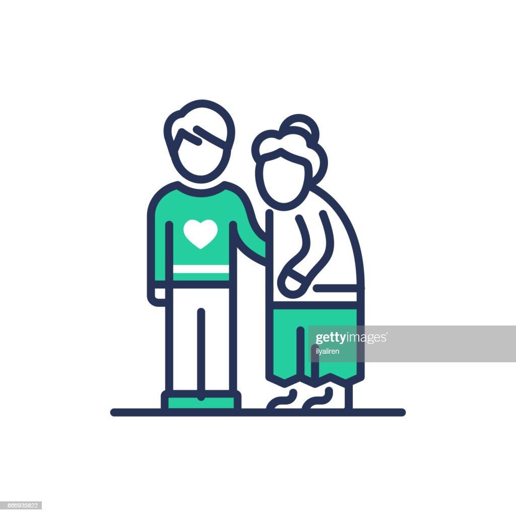 Elderly People Help - modern vector line icon.