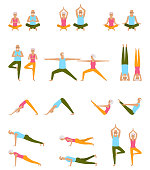 Elderly People Practice Yoga. Set of Asanas. Relax and Meditate. Healthy Pension Lifestyle