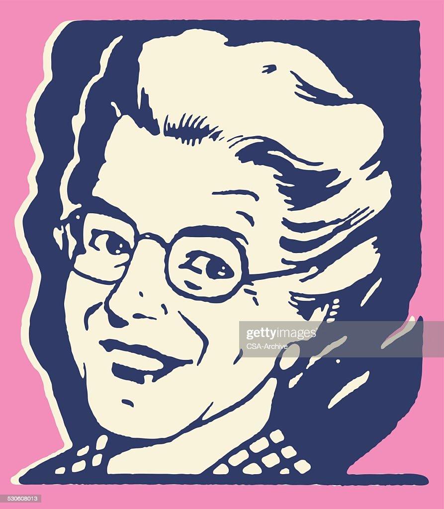Elderly Smiling Woman : stock illustration