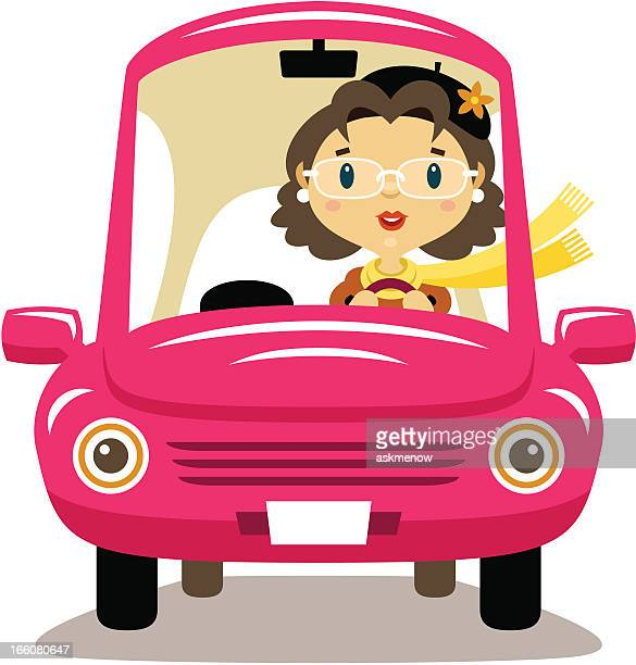 elderly woman driver - mature adult stock illustrations