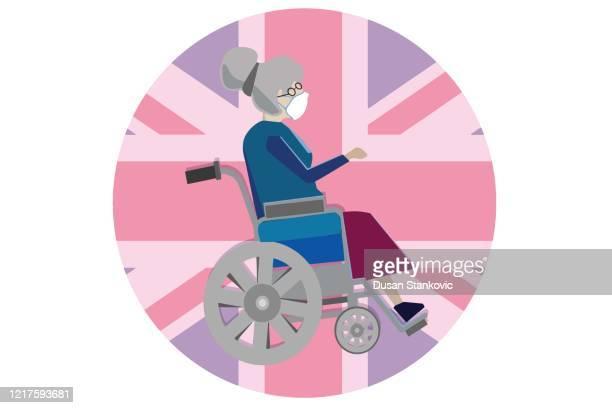 車椅子と英国の旗の背景を持つ高齢女性 - 年配の女性点のイラスト素材/クリップアート素材/マンガ素材/アイコン素材