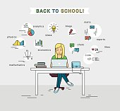 E-learning and back to school illustration of young girl