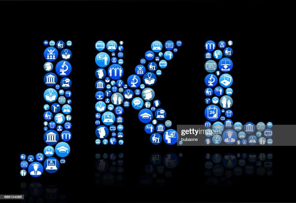 Patrón de botón azul JKL E-learning y educación universitaria : Ilustración de stock