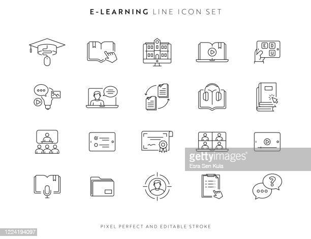e-learning and courses icon set with editable stroke and pixel perfect. - library stock illustrations