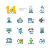 eLearning- colored modern single line icons set