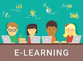 E-learning concept illustration of distance studying and education