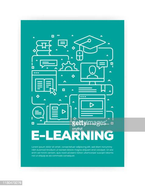 e-learning concept line style cover design for annual report, flyer, brochure. - showing stock illustrations