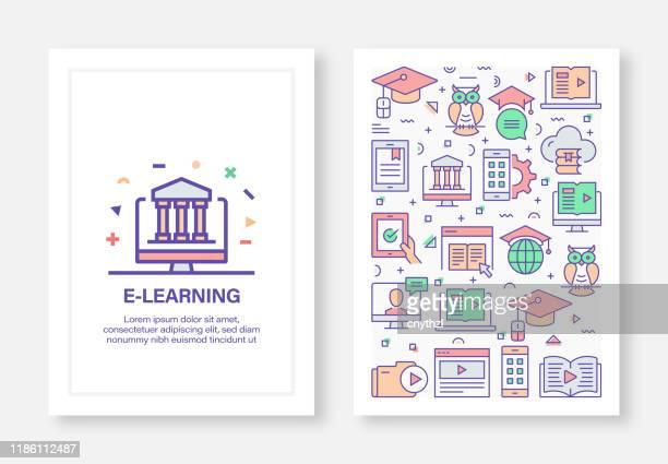 e-learning concept line style cover design für geschäftsbericht, flyer, broschüre. - zwischenbericht stock-grafiken, -clipart, -cartoons und -symbole