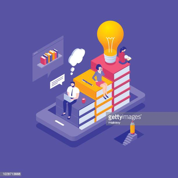 e-learning concept - learning stock illustrations