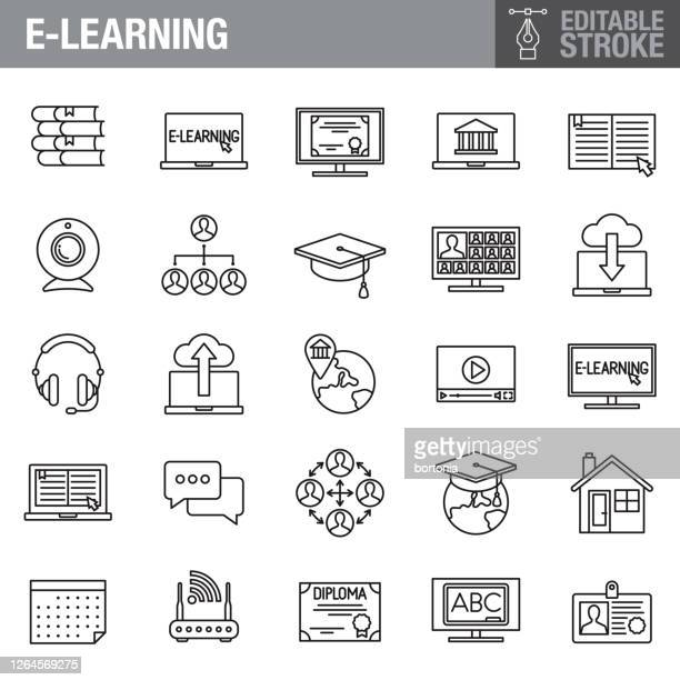 e-learning editable stroke icon set - e book reader stock-grafiken, -clipart, -cartoons und -symbole
