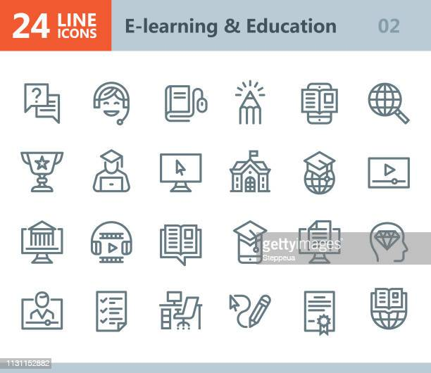 e-learning & education - line vector icons - wisdom stock illustrations