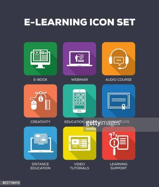 E-Learning Flat Icons Set