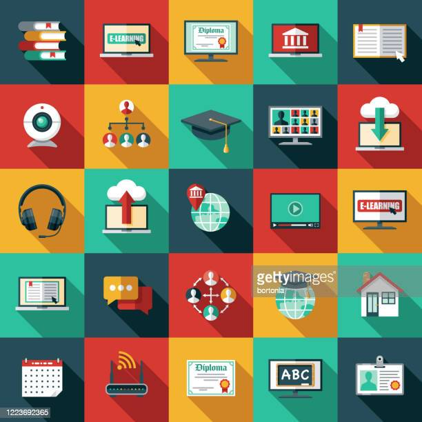 e-learning icon set - tutorial stock illustrations