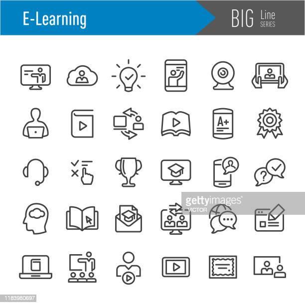 bildbanksillustrationer, clip art samt tecknat material och ikoner med e-learning ikoner-big line-serien - group e