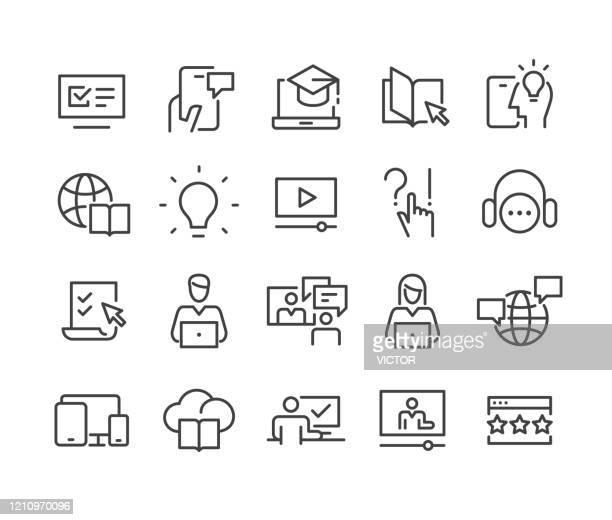 e-learning icons set - classic line serie - schulische prüfung stock-grafiken, -clipart, -cartoons und -symbole
