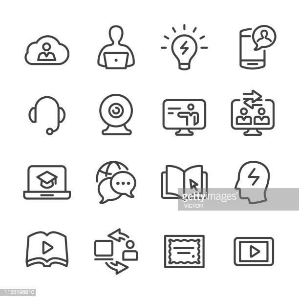 e ラーニングアイコンセットラインシリーズ - コンピュータカメラ点のイラスト素材/クリップアート素材/マンガ素材/アイコン素材