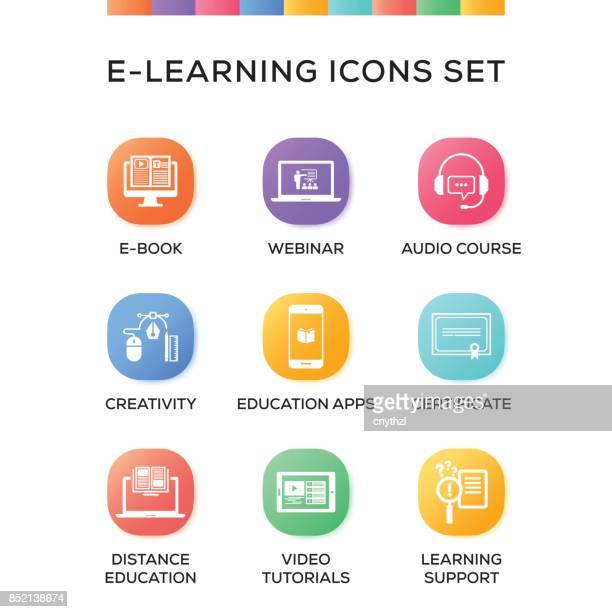 E-Learning-Icons Set auf Verlaufshintergrund