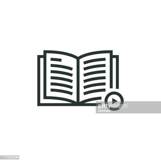 ilustraciones, imágenes clip art, dibujos animados e iconos de stock de icono de la línea de e-learning - letrae