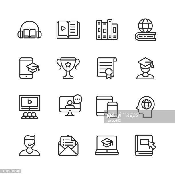 e-learning line icons. editable stroke. pixel perfect. for mobile and web. contains such icons as book, audiobook, webinar, online education, trophy . - library stock illustrations