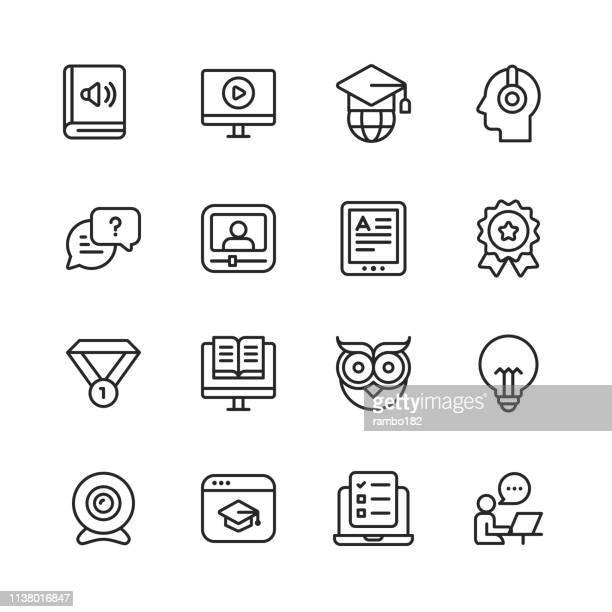 e ラーニングラインのアイコン。編集可能なストローク。ピクセルパーフェクト。モバイルとウェブのために。書籍、オーディオブック、ウェビナー、オンライン教育、トロフィーなどのア� - コンピュータカメラ点のイラスト素材/クリップアート素材/マンガ素材/アイコン素材