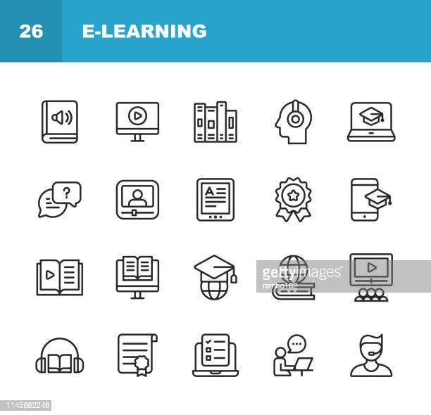 e-learning line icons. editable stroke. pixel perfect. for mobile and web. contains such icons as video tutorial, university, diploma, online test, audiobook. - audio equipment stock illustrations