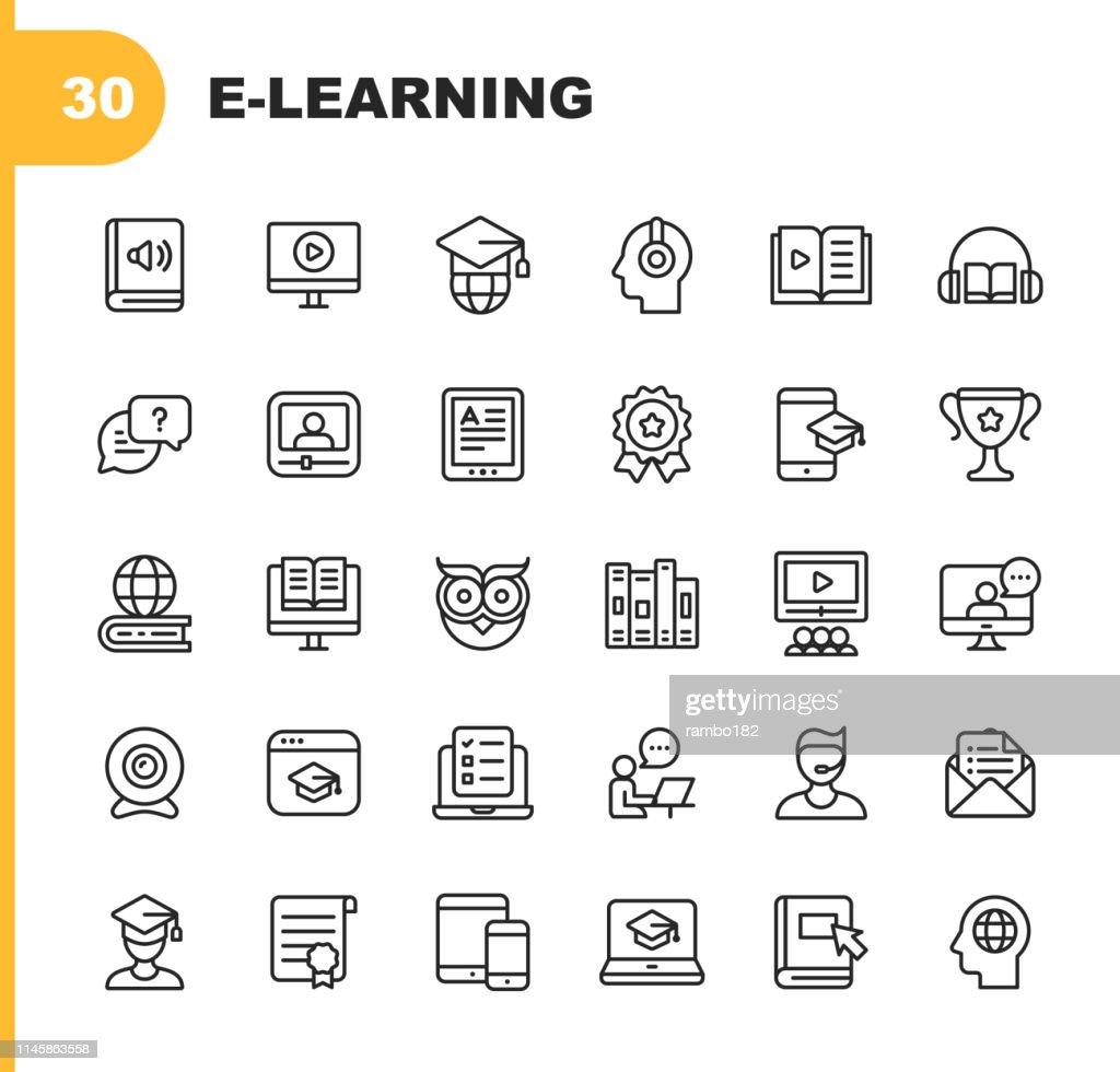 E-learning lijn iconen. Bewerkbare lijn. Pixel perfect. Voor mobiel en web. Bevat dergelijke pictogrammen zoals boek, audioboek, Webinar, online onderwijs, Trophy. : Stockillustraties