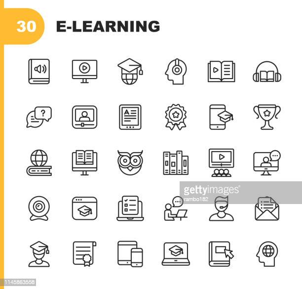 e-learning line icons. editable stroke. pixel perfect. for mobile and web. contains such icons as book, audiobook, webinar, online education, trophy. - teaching stock illustrations