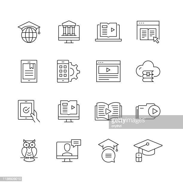 illustrazioni stock, clip art, cartoni animati e icone di tendenza di e-learning related - set di icone vettoriali a linea sottile - opuscolo